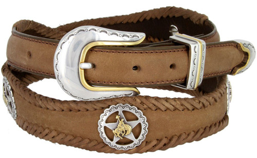 """Texas Star Bronco Rider Conchos Crazy Horse Scalloped Genuine Leather Western Belt 1""""(25mm) Wide"""