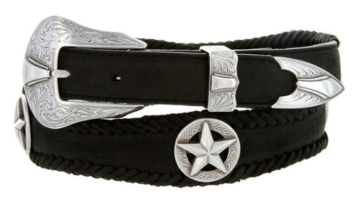 """Antique Star Conchos Crazy Horse Scalloped Genuine Leather Western Belt 1""""(25mm) Wide"""