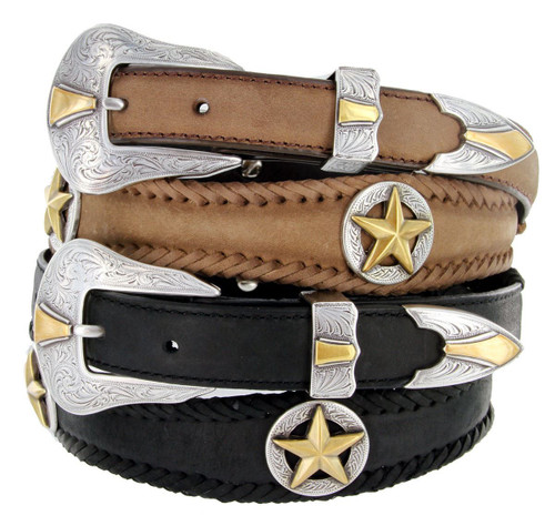 """Nocona Gold Star Conchos Crazy Horse Scalloped Genuine Leather Western Belt 1""""(25mm) Wide"""
