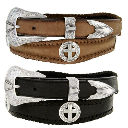 """Antique Silver Cross Conchos Crazy Horse Scalloped Genuine Leather Western Belt 1""""(25mm) Wide"""
