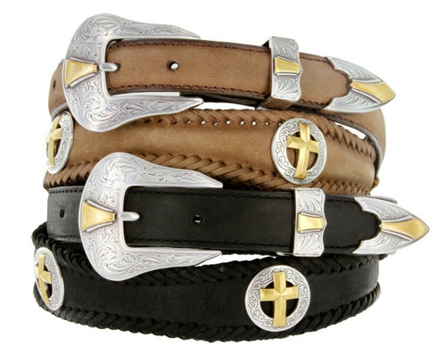 """Antique Gold Cross Conchos Crazy Horse Scalloped Genuine Leather Western Belt 1""""(25mm) Wide"""