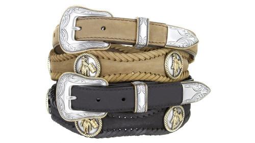 "Barrel Racer Conchos Crazy Horse Scalloped Genuine Leather Western Belt 1""(25mm) Wide"