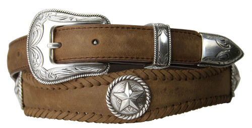 """Antique Silver Star Conchos Crazy Horse Scalloped Genuine Leather Western Belt 1""""(25mm) Wide"""