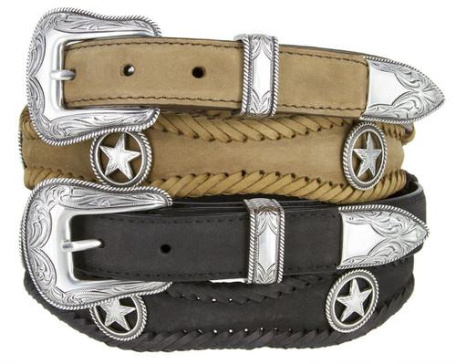 "Antique Ranger Star Conchos Crazy Horse Scalloped Genuine Leather Western Belt 1""(25mm) Wide"