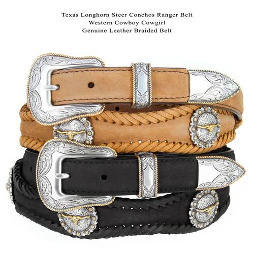 "Gold Longhorn Steer Conchos Crazy Horse Scalloped Genuine Leather Western Belt 1""(25mm) Wide"