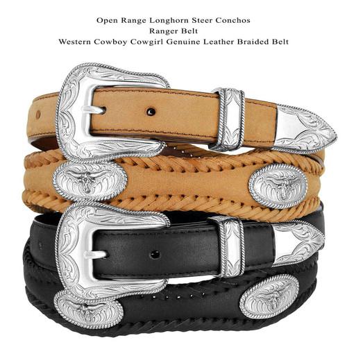 "Open Range Longhorn Steer Conchos Crazy Horse Scalloped Genuine Leather Western Belt 1""(25mm) Wide"