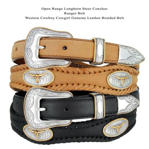 "Golden Steer Conchos Crazy Horse Scalloped Genuine Leather Western Belt 1""(25mm) Wide"