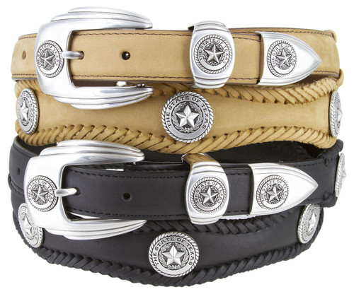 """State of Texas Silver Star Conchos Crazy Horse Scalloped Genuine Leather Western Belt 1""""(25mm) Wide"""
