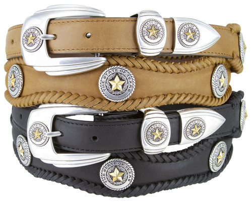 """State of Texas Gold Star Conchos Crazy Horse Scalloped Genuine Leather Western Belt 1""""(25mm) Wide"""