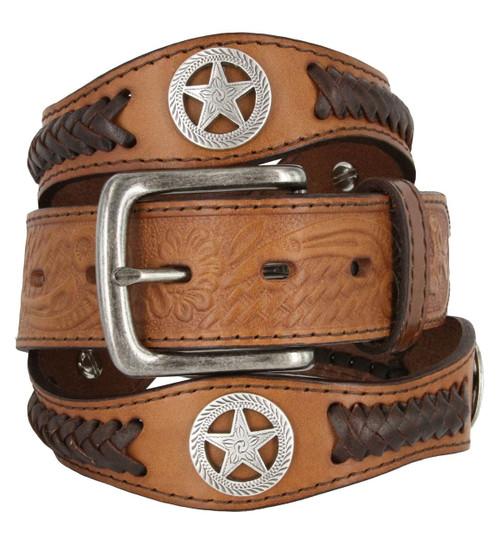 "Antique Buckle Star Conchos Western Floral Engraved Full Grain Leather Belt 1-1/2""(38mm) Wide"