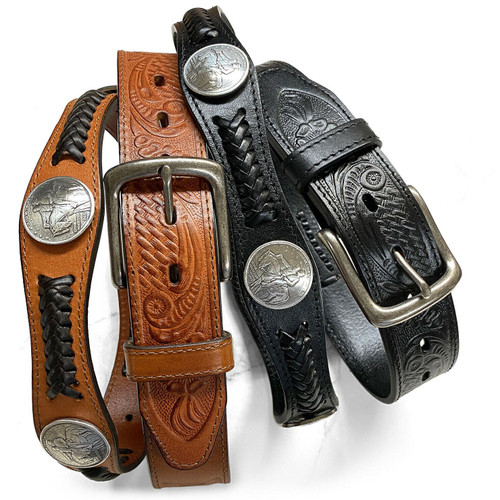 """Stone Mountain Memorial Coin Conchos Western Embossed Full Grain Leather Belt 1-1/2""""(38mm) Wide"""