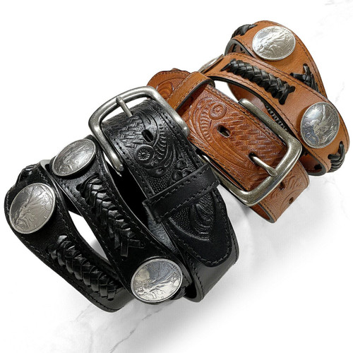 """Walking Liberty Coin Conchos Western Embossed Full Grain Leather Belt 1-1/2""""(38mm) Wide"""