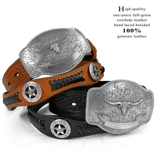 "Western Longhorn Buckle Star Conchos Embossed Full Grain Leather Belt 1-1/2"" (38mm) Wide"