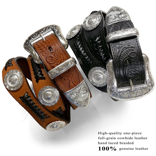 """Western Conchos Belt Floral Engraved Hand Laced Braided Genuine Full Grain Leather 1-1/2""""(38mm) Wide"""