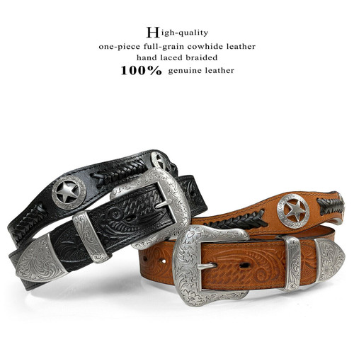"Antique Floral Engraved Western Buckle Ranger Star Conchos Embossed Full Grain Leather Belt 1-1/2""(38mm) Wide"