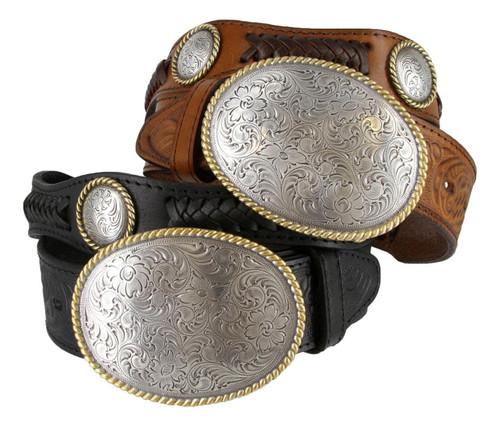 "Del Rio Western Conchos Floral Engraved Full Grain Leather Belt 1-1/2"" (38mm) Wide"