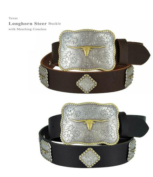 "Western Belt Texas Longhorn Steer Buckle with Conchos Full Grain Leather Belt 1-1/2""(38mm) Wide"