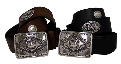 "Western Engraved Buckle Conchos Belt Genuine Full Grain Leather Belt 1-1/2""(38mm) Wide"