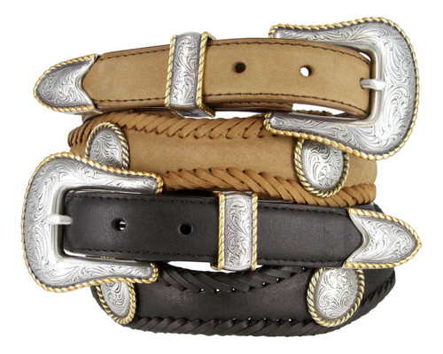 """Baron Gold Rope Edge Conchos Crazy Horse Scalloped Genuine Leather Western Belt 1""""(25mm) Wide"""