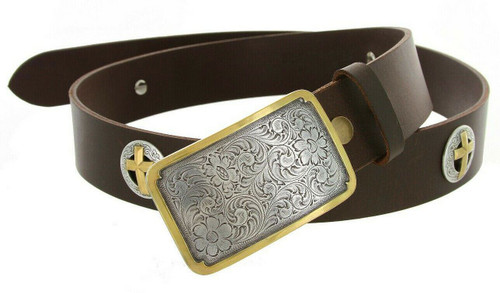 """Western Floral Engraved Buckle Gold Cross Conchos Full Grain Leather Belt 1-1/2""""(38mm) Wide"""