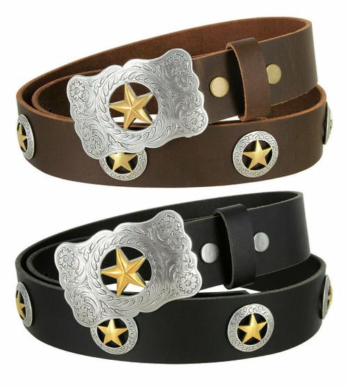 "Western Texas Ranger Star Floral Engraved Buckle Full Grain Leather Conchos Belt 1-1/2""(38mm) Wide"