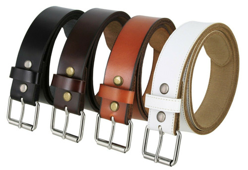 "Seris Roller Buckle Vintage Genuine Leather Casual Jean Belt 1-1/2""(38mm) Wide"