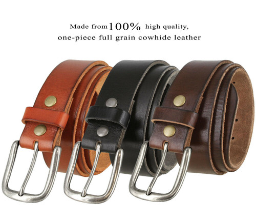 "Antique Silver Classic Buckle Genuine Full Grain Leather Casual Jean Belt 1-1/2""(38mm) Wide"