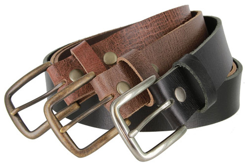 "Antique Vintage Buckle Genuine Full Grain Leather Belt 1-1/2""(38mm) Wide Made in U.S.A"