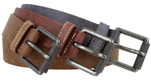 """LA2046 Genuine Leather Stippled Design Casual Belt Roller Buckle 1-1/2""""(38mm) Wide"""
