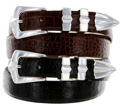 Art Deco Italian Calfskin Genuine Leather Designer Dress Belt