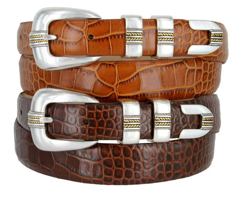 Gold Norris Italian Calfskin Genuine Leather Designer Dress Belt