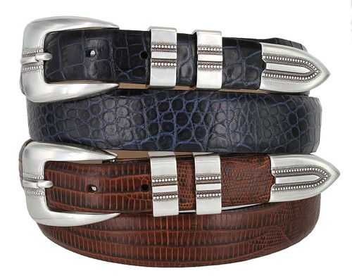 Vincente Silver Italian Calfskin Genuine Leather Designer Golf Dress Belt