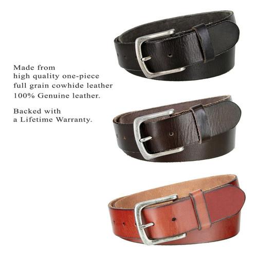 "CX160 Antique Classic Buckle Genuine Full Grain Leather Casual Jean Belt 1-1/2""(38mm) Wide"