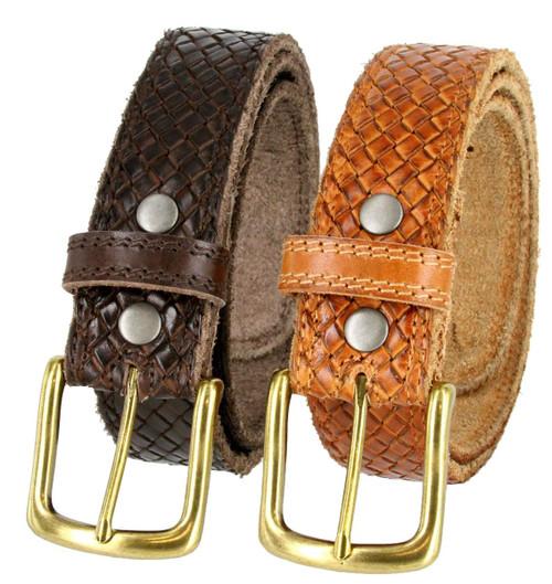 """CX160 Crossweave Braided Genuine Full Grain Leather Casual Jean Belt 1-1/2""""(38mm) Wide"""