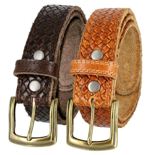 "P3926 Crossweave Braided Genuine Full Grain Leather Casual Jean Belt 1-1/2""(38mm) Wide"