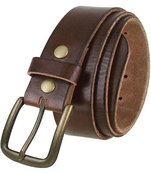 """JT JT Vintage Brass Buckle Genuine Full Grain Leather Casual Jean Belt 1-1/2""""(38mm) Wide"""
