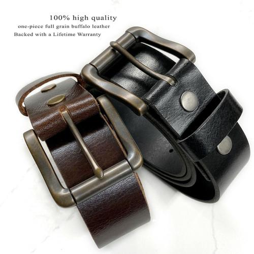 """Roller Buckle Casual Jean One Piece Full Grain Buffalo Oil Tanned Leather Belt 1-1/2""""(38mm) Wide"""