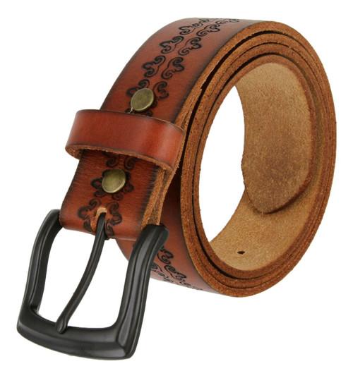 "Classic Black Engraved Buckle Genuine Full Grain Leather Belt 1-1/2""(38mm) Wide"