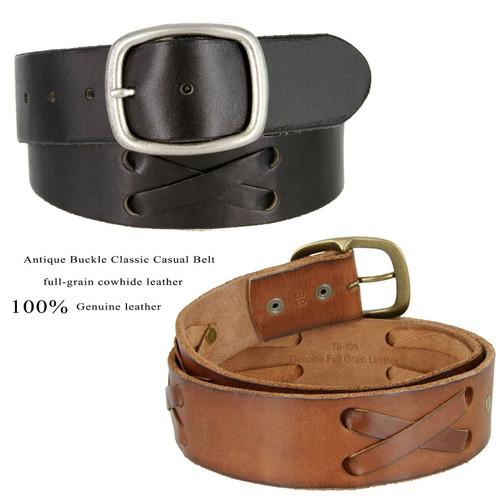 """X-Laced Casual Jean Belt Genuine Full Grain Leather Belt 1-3/4""""(45mm) Wide"""