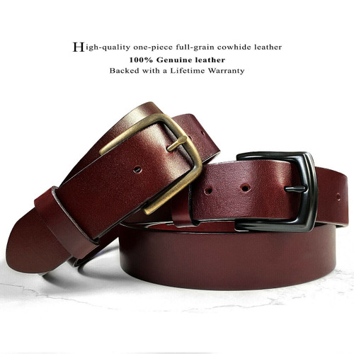 "Classic Burgundy Belt Genuine Full Grain Leather Casual Jean Belt 1-1/2""(38mm) Wide"
