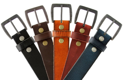 "Vintage Buckle Belt Genuine Full Grain Leather Casual Jean Belt  1-1/2""(38mm) Wide"
