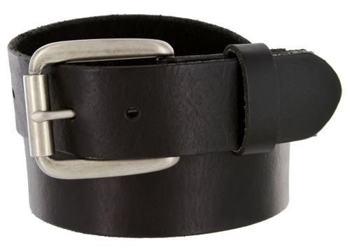 "4767 Antique Roller Buckle Genuine Full Grain Leather Casual Jean Belt 1-1/2""(38mm) Wide"