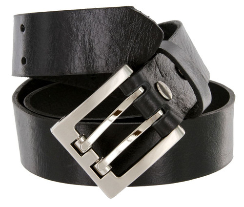 """4184 Double Prong Roller Buckle Genuine Full Grain Leather Belt 1-3/8""""(35mm) Wide Made in USA Belt"""