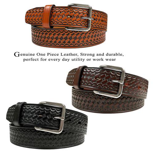 """CL871-A Utility Uniform Work Belt Basketweave One Piece Full Grain Cowhide Leather Belt 1-1/2""""(38mm) Wide"""