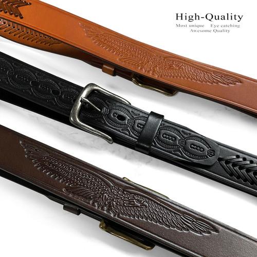 "Western Eagle Engraved Genuien Full Grain Cowhide Leather Casual Belt 1-1/2""(38mm) Wide"