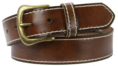"Antique Vintage Gold Buckle Genuien Leather Casual Jean Belt 1-1/2""(38mm) Wide"