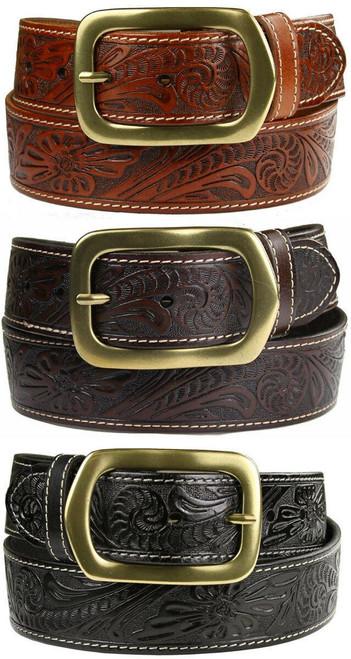 "Jefferson Western Floral Engraved Tooled Genuine Full Grain Leather Belt 1-1/2""(38mm) Wide"
