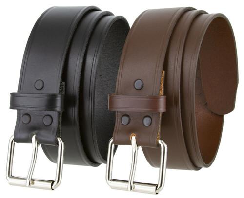 "Roller Buckle Genuine Full Grain Cowhide Leather Casual Jean Belt 1-1/2""(38mm) Wide"