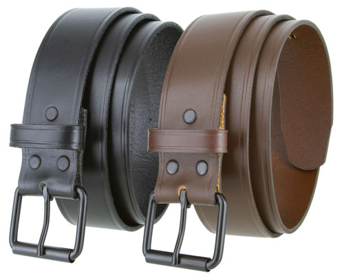 "Black Roller Buckle Genuine Full Grain Cowhide Leather Casual Jean Belt 1-1/2""(38mm) Wide"