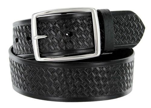 """Utility Uniform Work Belt Basketweave One Piece Full Grain Cowhide Leather Belt 1-3/4""""(45mm) Wide"""